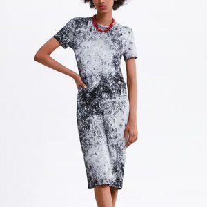 ZARA Black & White Tie Dye Midi Dress Size M